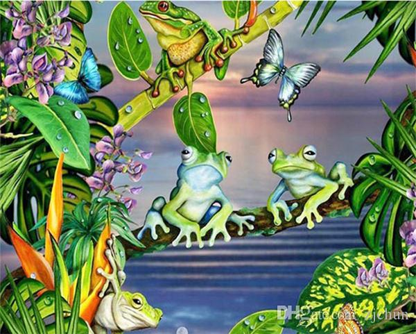 Diy diamond painting cross stitch kit rhinestone full round diamond embroidery animal frog butterfly home mosaic decoration yx4289