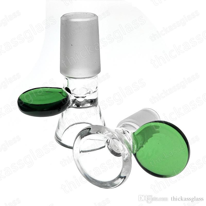 Green Handle Glass Heady Bong Bowl für Glaswasserpfeifen mit 14mm / 18mm Innengewinde Smoke Adapter