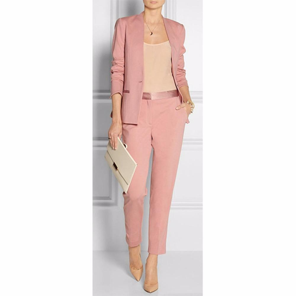 ece7d1bb010b 2019 Spring Summer Pink Womens Business Suits Blazer With Pants Female  Trouser Suit Ladies Office Uniform Set W56 From Salom