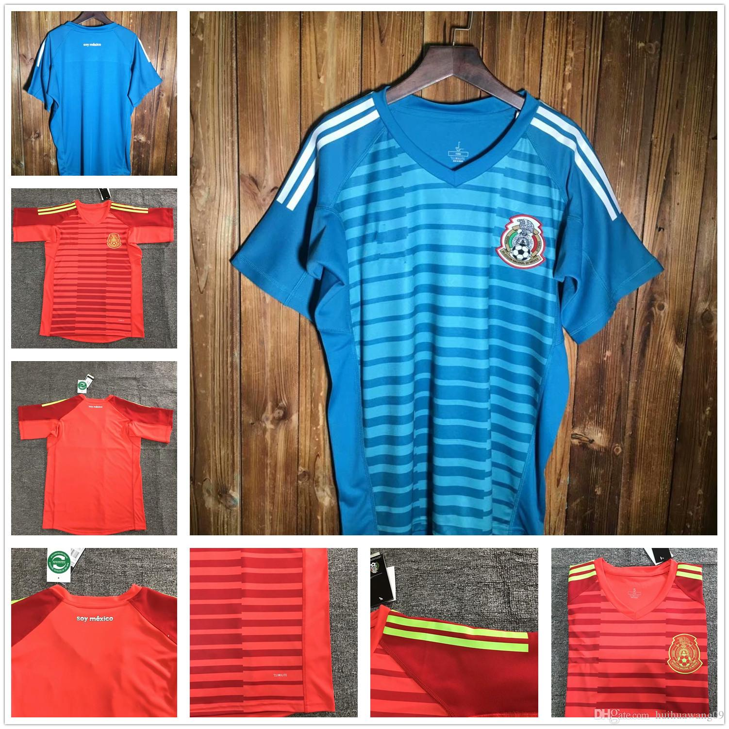bcfed3b0e 2019 2018 Mexico OCHOA Blue Goalkeeper Jersey Red Keeper G.DOS SANTOS  CHICHARITO World Cup Soccer G.OCHOA CORONA Jerseys Adults Football Shirts  From ...