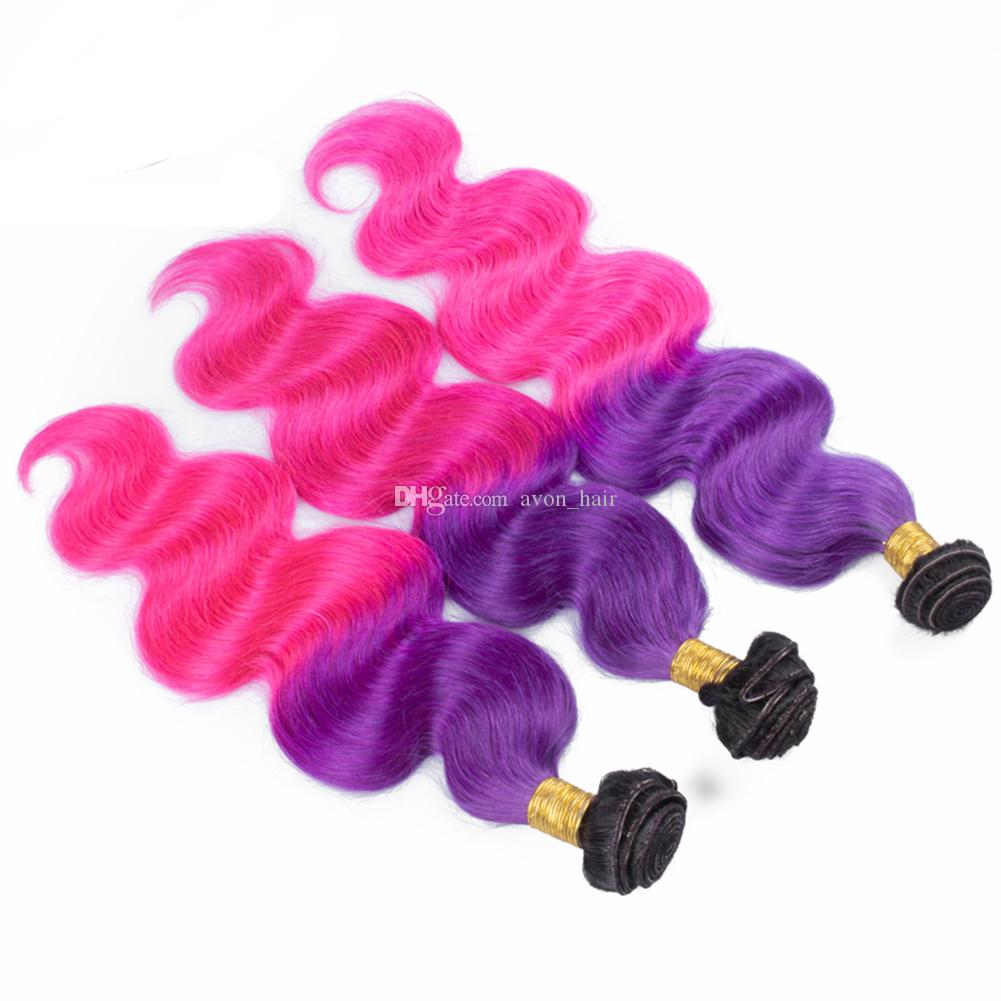 Темные корни тела волна наращивание волос с верхней кружева фронтальной Ombre 1B фиолетовый розовый девственницы 8A волос 3 пучка с фронтальной закрытия