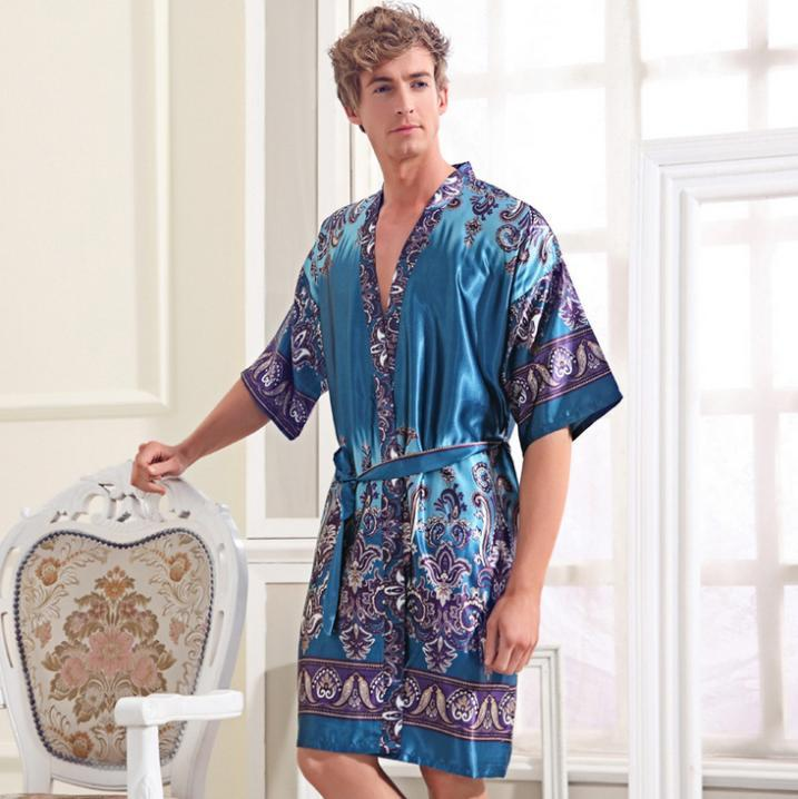 7a693f41d5 2019 Bath Robe Men Cheap Silk Robes Chinese Silk Robes For Men Home  Bathrobe Man Robe Sleepwear From Pandawomen