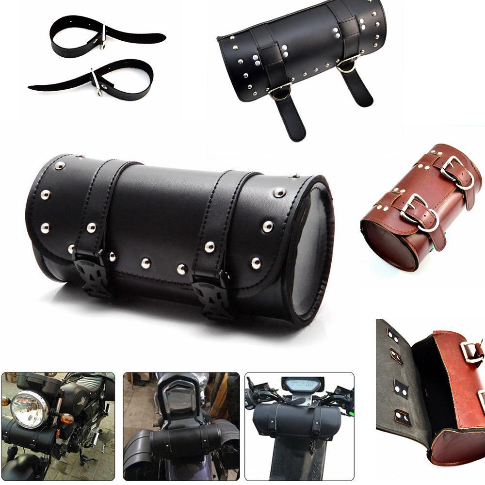 Motorcycle Tool Bag >> Motorcycle Fork Bag Roll Barrel Bag Atv Faux Leather Black Brown