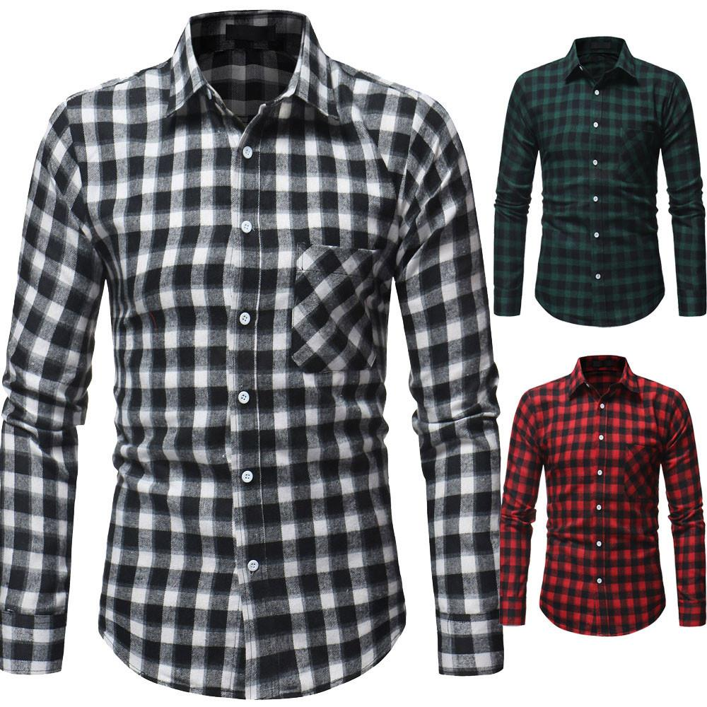 2019 2018 New Fashion Casual Mens Autumn Daily Tartan Long Sleeved