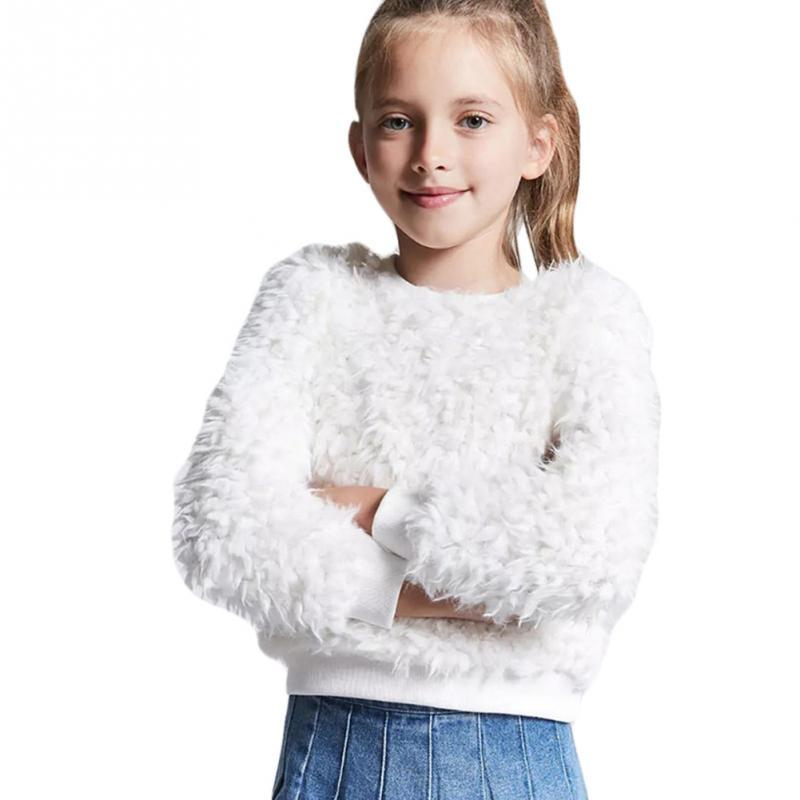 a0de8995b87235 ... Autumn Winter Faux Fur Sweater Coat Children Hooded Coat Knitted Sweater  Baby Girls Kids Warm Clothing Free Knitting Patterns Girls Cardigan Sweaters  ...