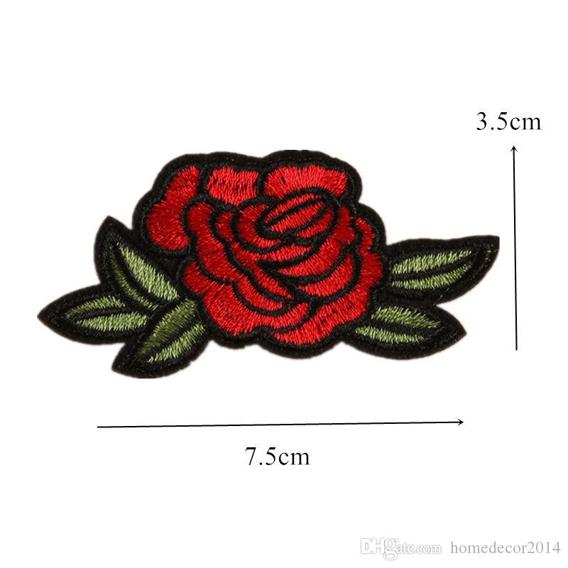 11 Mixed Embroidered Red Rose Patches Sewing Iron On Flower Badge For Bag Jeans Hat Appliques DIY Handwork Sticker Apparel Decoration