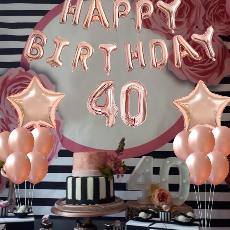 Wholesale 16inch 30 40 50 60 Years Old Happy Birthday Foil Balloon Adult Party Favors Anniversary Decoration Supplies 30th Balloons