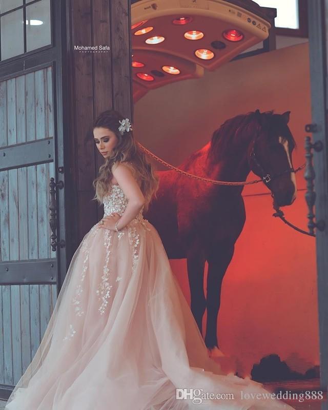 Sheer V Pescoço 2020 vestidos de noiva com vestido de festa frisada Lace Applique Tulle Vestidos de casamento Backless Uma linha baratos Bride