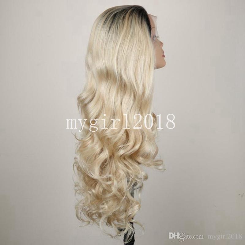 Longue perruque synthétique avant de lacet pour les femmes afro-américain résistant à la chaleur sombre racines noir Ombre longue coiffure ondulée