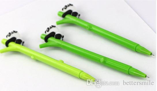 Best selling cartoon gel pens free shippingSmallVCartoon panda plastic creative bamboo pen \Black 0.5mm 196