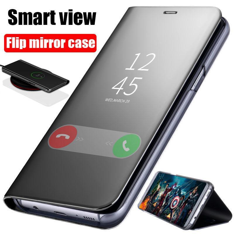 the best attitude 06d79 b4db3 Clear View Mirror Case For Samsung Galaxy A3 A5 A7 2017 J3 J5 J7 For  Samsung S8 S9 J6 J8 A6 A8 Plus 2018 S7 Edge Leather Flip Case