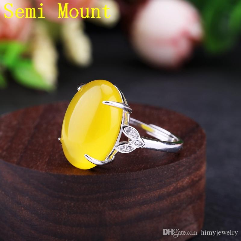 925 Sterling Silver Engagement Wedding Ring Women Crystal 14X18MM OVAL Cabochon Semi Mount Ring for Opal Amber Setting Jewelry