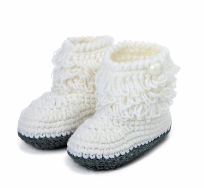 New style handmade cheap baby shoes newborn Tall canister knitting boots baby boys girls first walkers