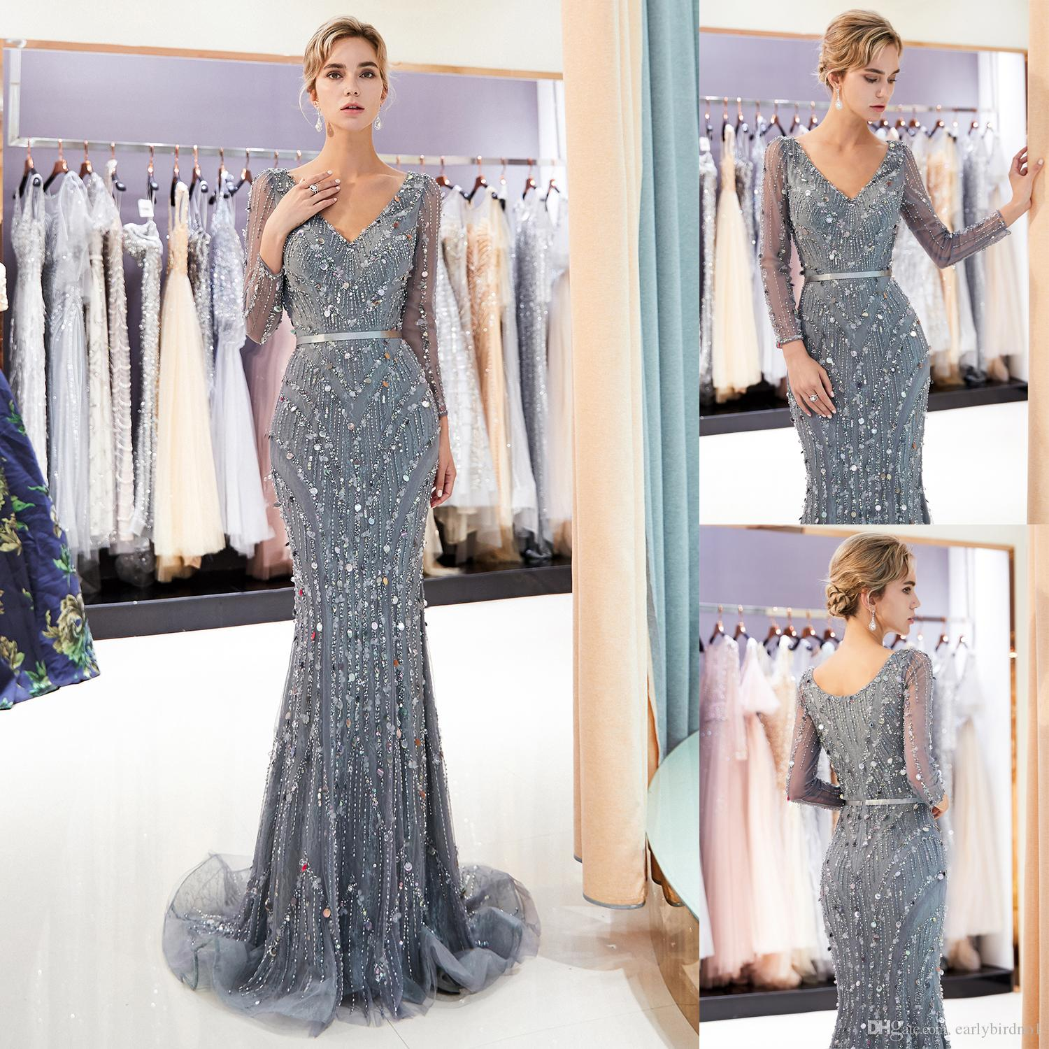 6ebb591374 Long Sleeves V Neck Gray Mermaid Evening Dresses Designer Sweep Train  Formal Occasion Wear Wedding Party Gown 100% Real Image CPS1174