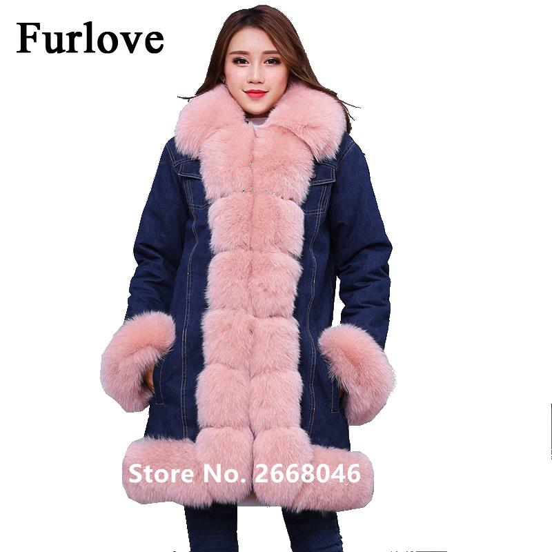 New Long Jeans Jacket Women Vintage Casual Denim Jackets Short Real Fur Parka Removable Fur lining Winter Coat Thick parkas