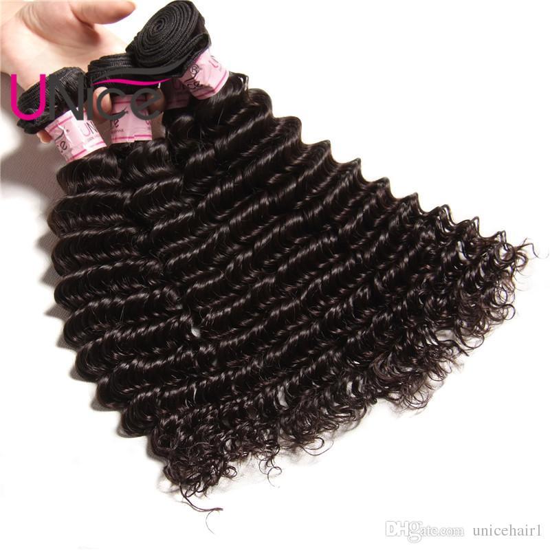 UNICE Haar indische tiefe Welle 4 Bundles Remy brasilianische Haarverlängerungen unverarbeitete 100% Echthaar Produkte Großhandel billig Deep Weave Bundles