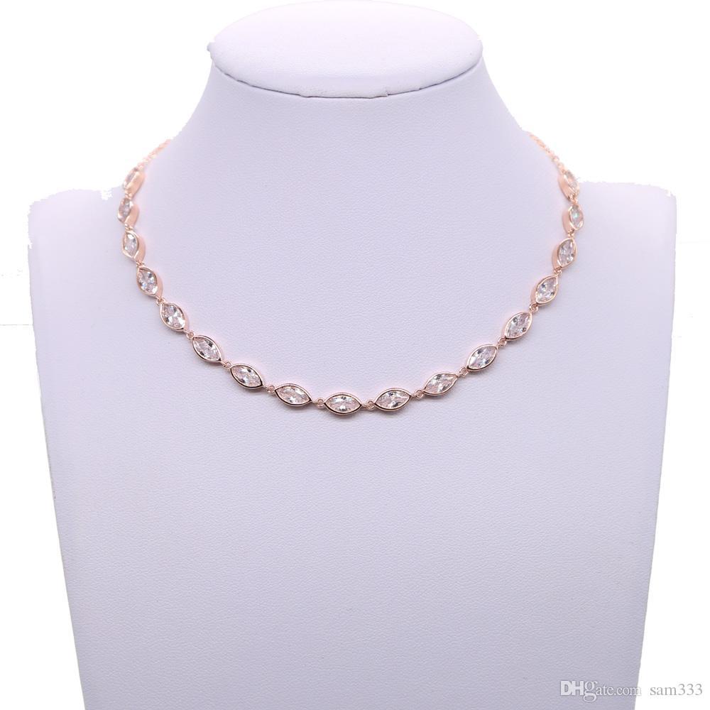 Бросился ошейники 2018 Мода имитация Кристалл водослива медь колье ожерелье женщины короткие чулки розовое золото для свадьбы