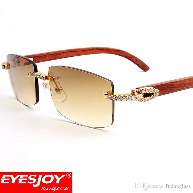 7892b1c972b Mens Diamond Luxury Sunglasses Rimless Gradient Brown Lens Four Kinds Of Wood  Arms Brand Designer Glasses For Women With Box CT3524012 Baseball Sunglasses  ...