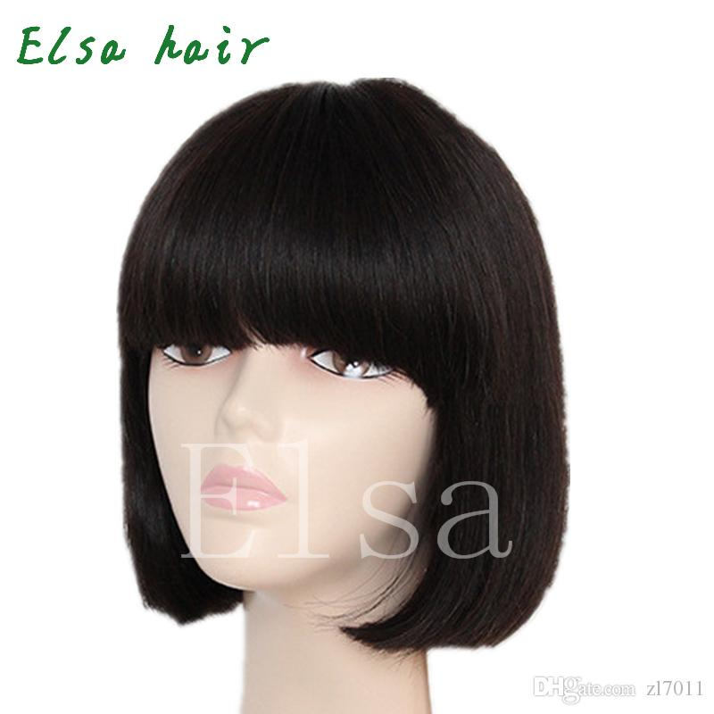 Straight Human Hair Wigs Short Bob Wig with Full Bangs Brazilian Virgin Hair Real Wig Human Hair Wigs Shoulder Length Bob Style