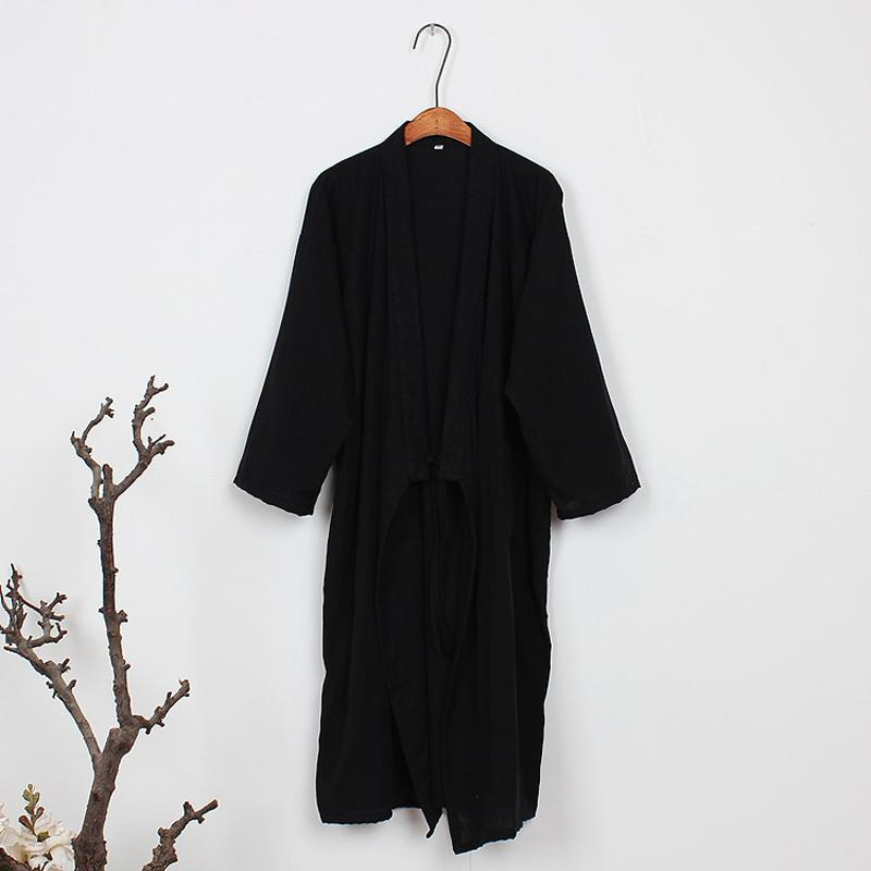 2019 Pure Coon Black Kimono Robes Men Spring Simple Male Bathrobes Long  Sleeve SPA Casual Robes Japanese Robes For Male From Bida Amy 740f7532e