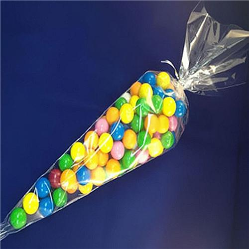 New 18*37cm Cone Clear Sweet Chocolate Candy Cupcake Wrapper Birthday Party Favor Gifts Display Cello Bags Decoration