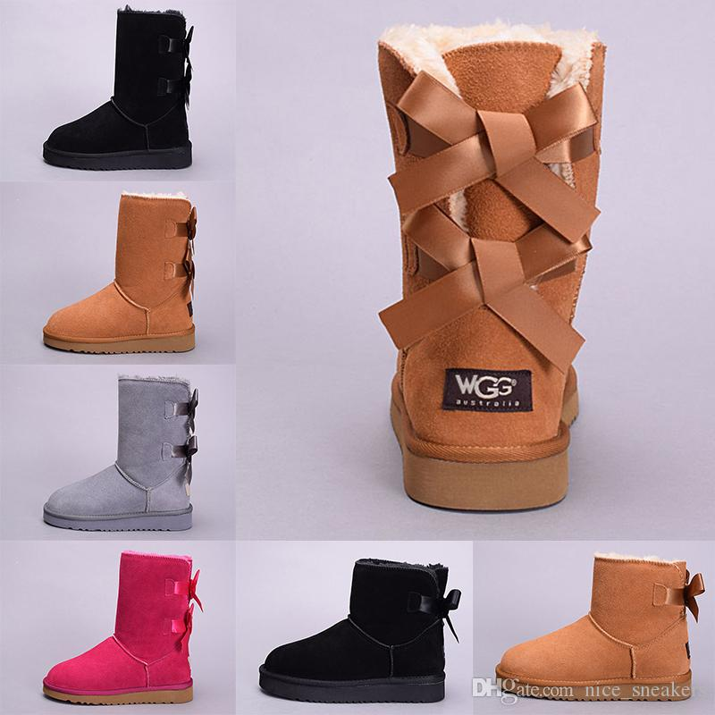 ca726cf76 Designer WGG Women Winter Snow Boots Australia Tall Short Kneel Ankle Black  Grey Chestnut Navy Blue Red Lady Girl Size 36-41 Sale Online Snow Boot  Winter ...