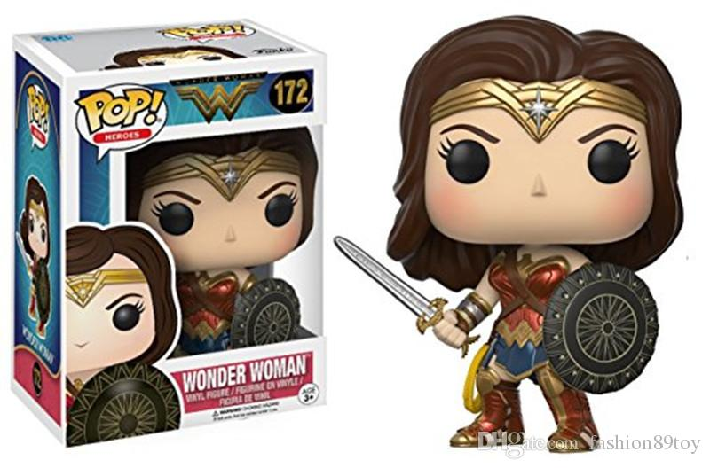 Super Woman Funko POP Anime Action Figures Animation 9-11CM Diana Cassidy Hippolytus Bat Mancaptain Jack Salazar figure models box wonder