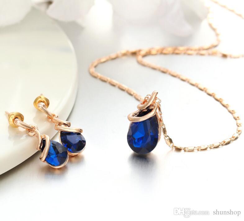 Moda Gota de Cristal Set Jóias Presentes para Mulheres Geometric Colar Pingente Senhora Dangle Brincos de noivado moda do presente de aniversário