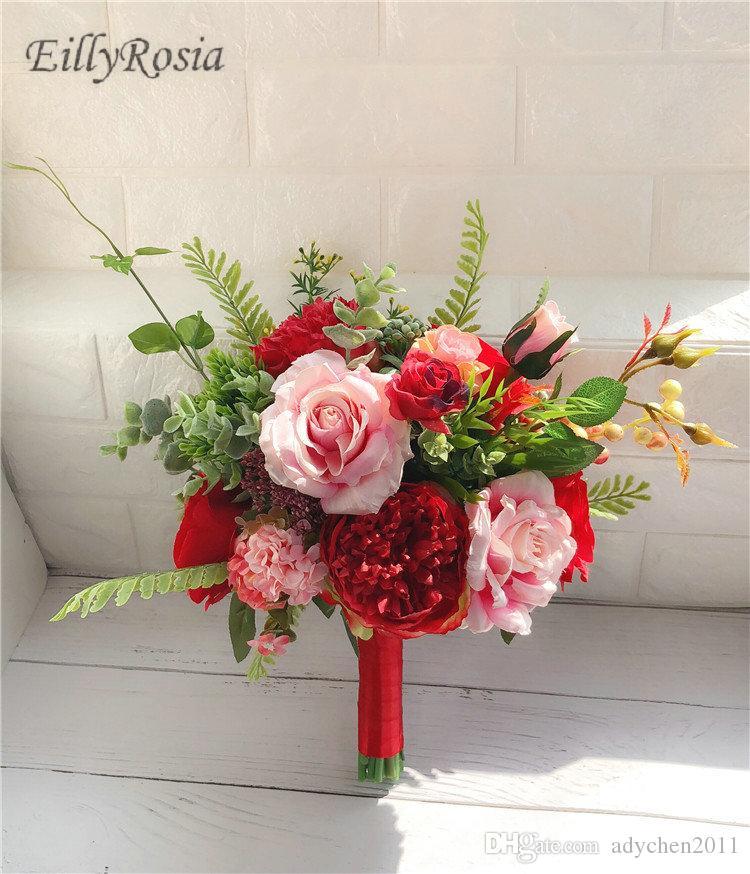 Grosshandel Western Kunstliche Braut Bouquet 2018 Rosa Rote Rosen