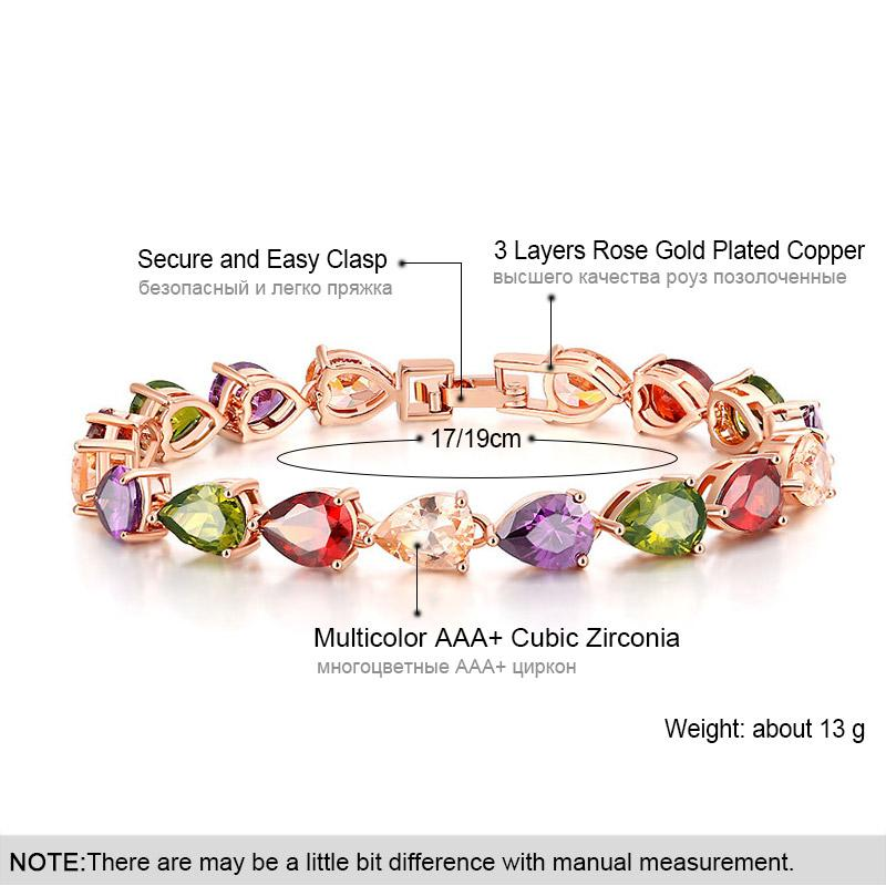 USTAR Colorful Teardrop Zircon Charm Bracelet for women Rose Gold color Chain Crystals Bangle & Bracelet femme Wedding Jewelry