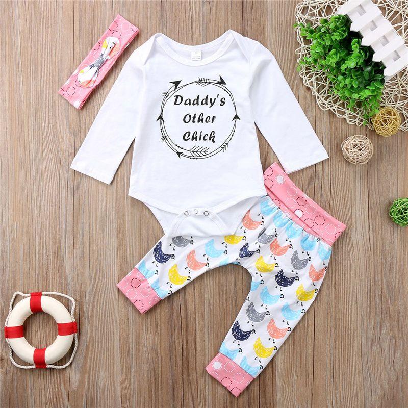 7c1f23af4 2019 Newborn Baby Girl Tops Romper Jumpsuit Pants Trousers Headband ...