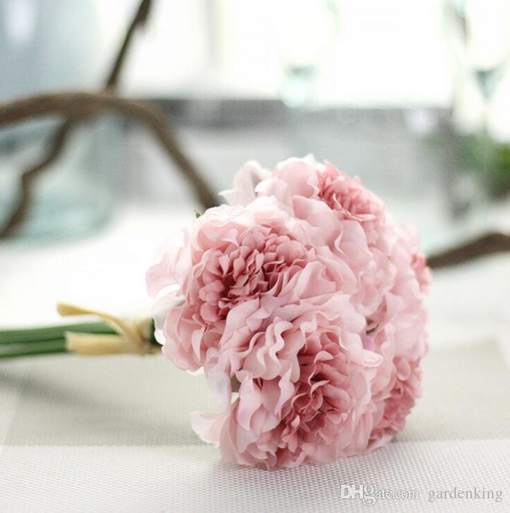 2018 1 Bouquet 5 Heads Peony Flower Artificial Silk Fake Peony ...