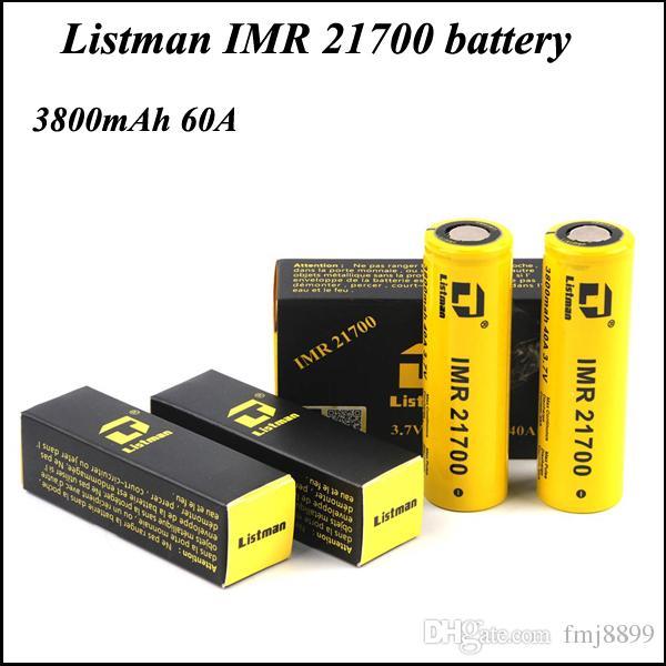 Original Listman IMR 21700 High Drain Battery 3800mAh Rechargeable ...