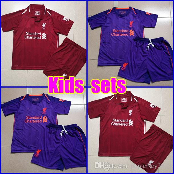 f7ba64d8f0 KIDS Soccer Jersey 2018 2019 Salah Firmino Football Shirt Uniform ...