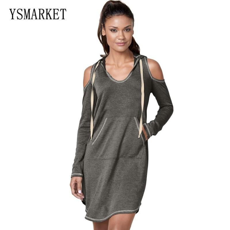 d005b10a01b New Arrival Gray Army Green Dress Mini Casual Pockets Long Sleeve Cold  Shoulder Hooded Dress Women Fashion Clothes E220484 White Cocktail Dresses  White ...