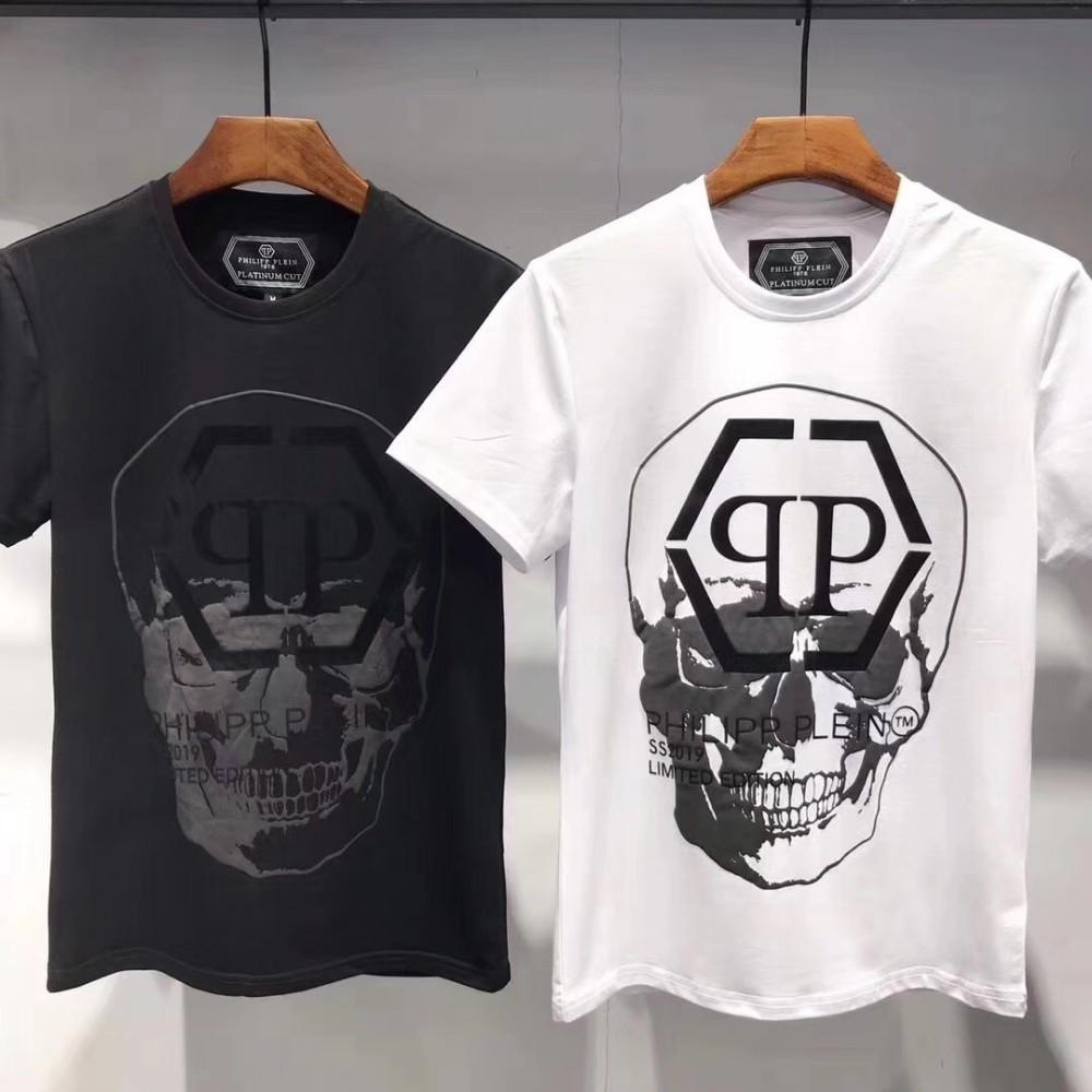 The new men's T-shirt in 2019 is a handsome and stylish skeleton and letter  print, delivered free of charge