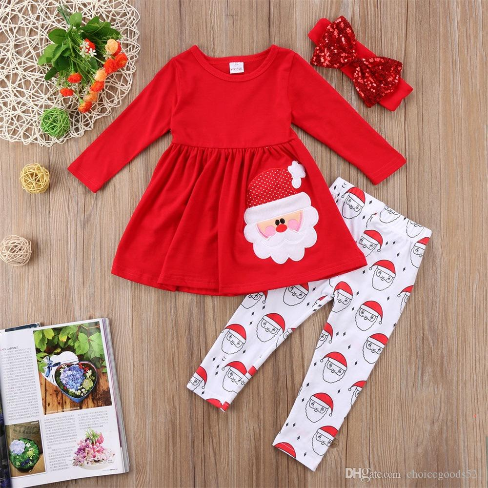 Baby Girls Clothes Christmas Stella Boutique Clothing Set Santa Claus Print Kids Clothing 5 s/l