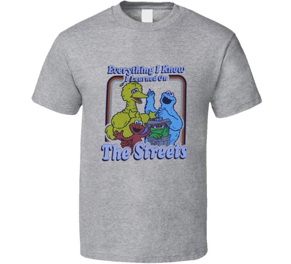 471401174 Everything I Know Sesame Street Funny Joke T Shirt Mens 2018 Fashion Brand  T Shirt O Neck 100%cotton T Shirt Tops Tee Custom Buy Cool T Shirts Online  Funny ...