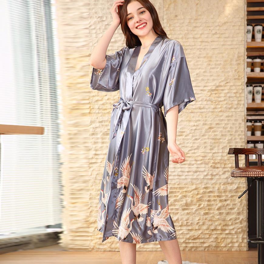 a650e24135 2019 Print Silk Women Autumn New Robes Half Sleeve Sexy Roft Beautiful  Female Clothes Pajamas Gx937 Drop Shipping From Sweatcloth