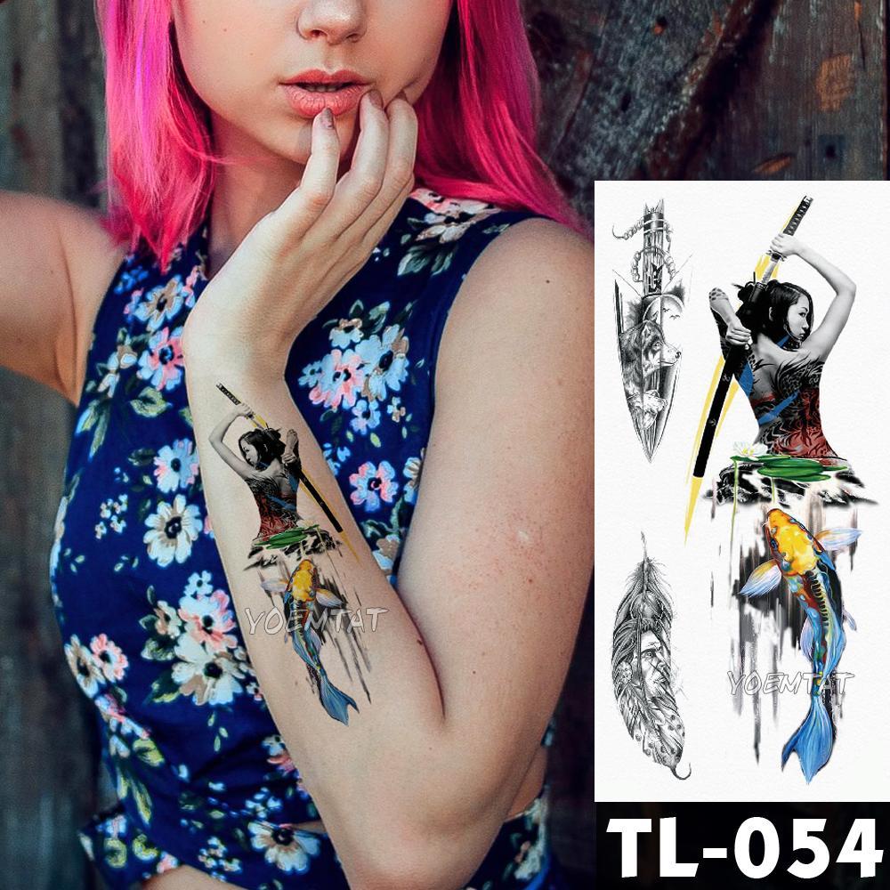8147c44fe Water Transfer Japanese Style Geisha Warrior Temporary Tattoo Sticker Color  Carp Pattern Body Art Waterproof Fake Flash Tattoo Henna Tattoos Tattoo Art  From ...
