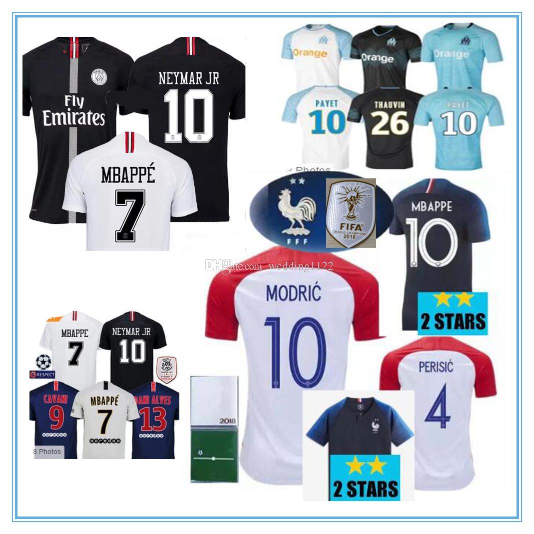 Compre 2 Estrelas Nova Camisola Da Taça Do Mundo De Croácia Camisa França  2018 POGBA GRIEZMANN PAYET Modric Mbappe Camisas De Futebol T 18 19  National Team ... f2e524db74479