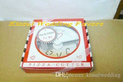 "Wedding Favor ""A Slice of Love"" Stainless-Steel Pizza Cutter Bridal Shower Favors For wedding souvenirs and Love Gift"
