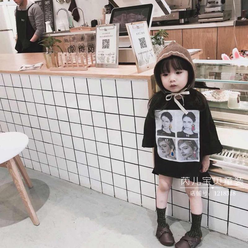 أزياء الصيف الفتيات الفتيان تي شيرت شخصية قصيرة الأكمام الناس المطبوعة الأطفال قميص طويل القطن قمم الملابس كيد بنات