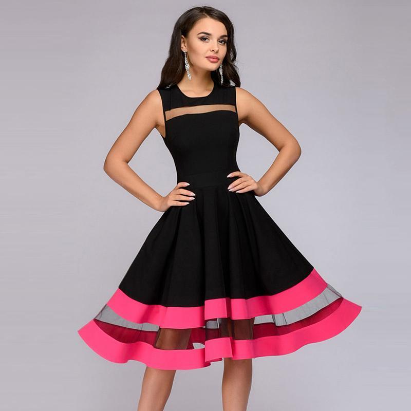 2018 New Autumn Women Vintage Sleeveless Party Dresses A Line O Neck Mesh  Patchwork Knee Length Dress Women Elegant Dress Online with  31.69 Piece on  ... 8ace6fc187fb