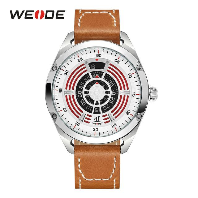 WEIDE Men's Casual Analog Digital Display Quartz Watch Hardlex Brown Leather Strap Stainless Case Wristwatch Relogio Masculino