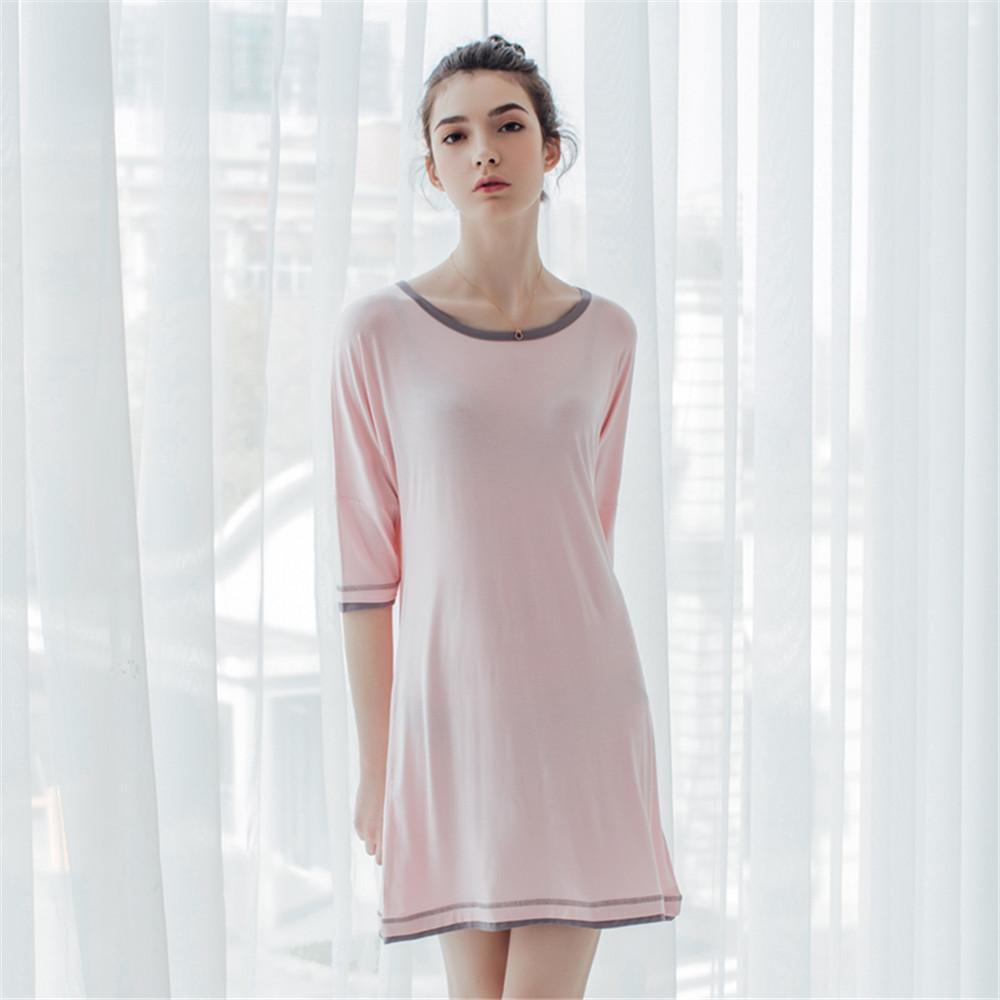 8260fe6cb3 2019 Womens Summer Natural Bamboo Modal Knitting Plus Size Sleepshirts  Night Dress Gowns Robes Sleepwear Home Wear Loungewear From Sweatcloth