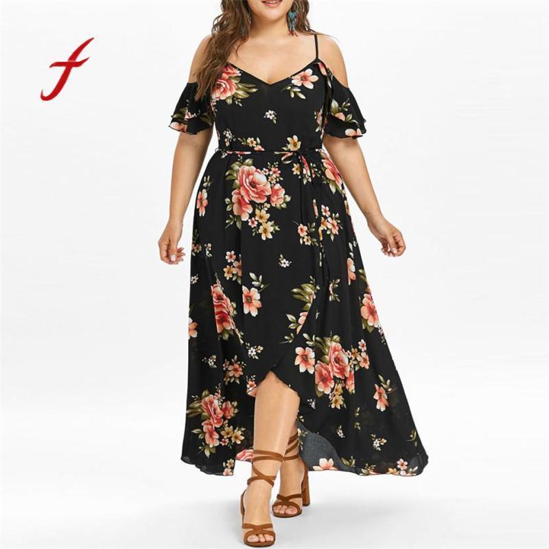 7414a831ab Compre Vestido De Verano 2018 Mujeres Casual Manga Corta Hombro Frío Boho  Estampado De Flores Vestido Largo Marca Casual Más Tamaño Maxi A  35.32 Del  Brry ...
