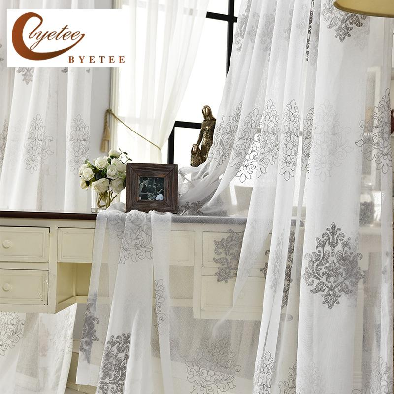[Byetee ]High Quality Linen Embroidered Curtain Bedroom Window Tulle Gauze  Grey Voile Curtains For Living Room Curtain Finished