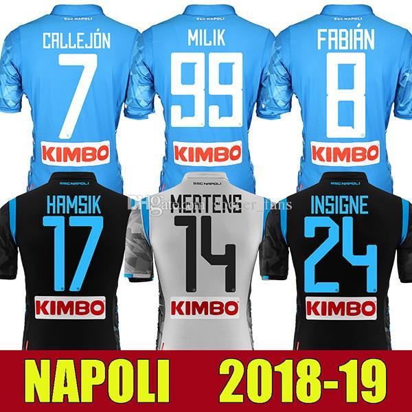 sale retailer 8989d bf834 18 19 Napoli Football shirt Hamsik Insigne Mertens Milik Jorginho Callejon  Maradona Zielinski Naples 2018 2019 Soccer jersey