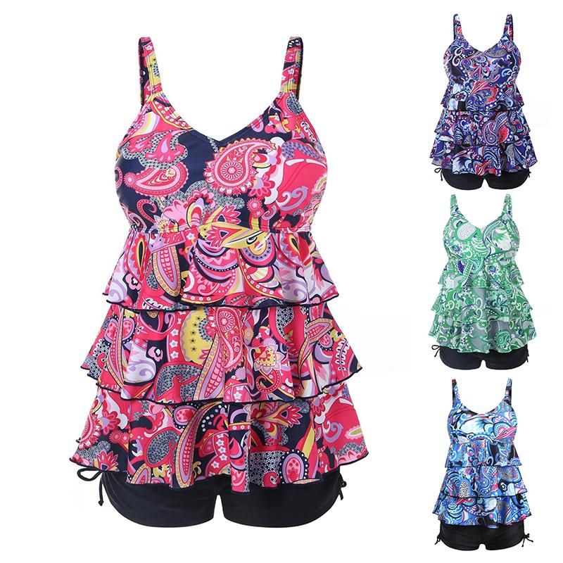 819824b03d2 2019 Women Plus Size Tankini Swimwear S 5XL Floral Printing Padded Bathing  Suits Tank Tops With Boyshorts Swimming Wear From Hilllin1989